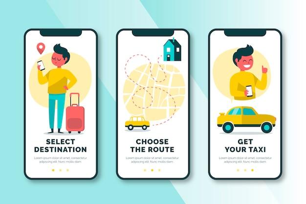 Taxiservice onboarding app schermen ingesteld Gratis Vector