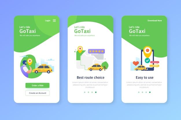 Taxiservice onboarding app-schermen Gratis Vector