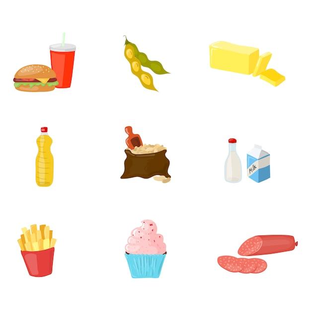 Te vermijden voedsel voor hormoon in evenwicht brengende die reeks op wit wordt geïsoleerd. vector cartoon stijl product illustratie Premium Vector