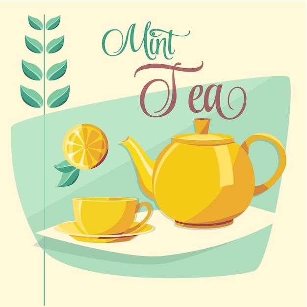 Tea ontwerp Gratis Vector