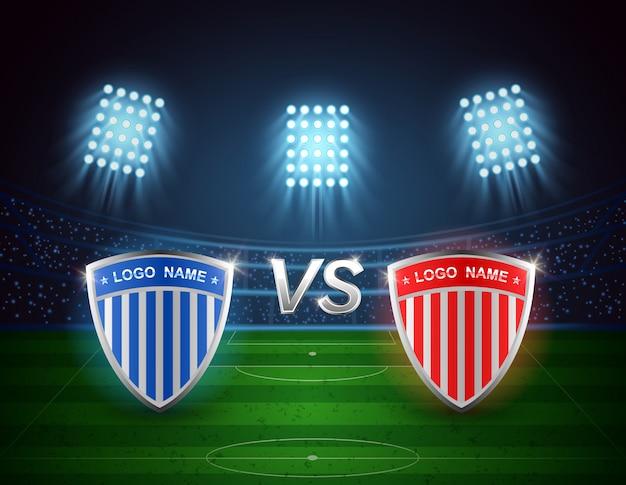 Team a tegen team b, voetbalarena met fel licht stadionontwerp. vectorillustratie Premium Vector