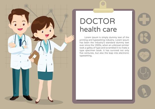 Team doctor presentatie Premium Vector