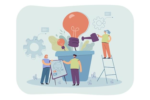 Team groeiende gloeilamp plant. mensen uit het bedrijfsleven creëren ideeën voor klimaatverandering, milieu, elektriciteit. cartoon afbeelding Gratis Vector