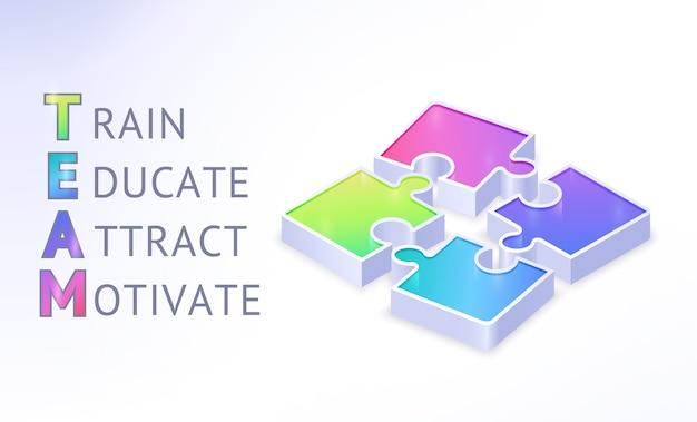 Team isometrische banner met puzzelstukjes en afkorting van woorden train, educate, attract, motivate. teamwork samenwerking, zakelijk partnerschap, verbinding. realistische 3d-afbeelding, poster Gratis Vector