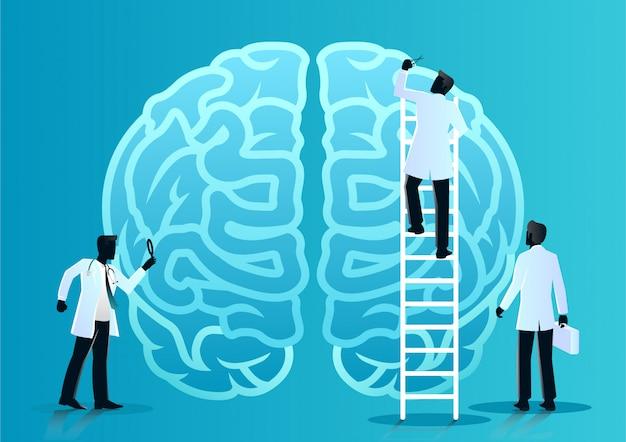 Team van artsen diagnosticeren menselijke hersenen Premium Vector