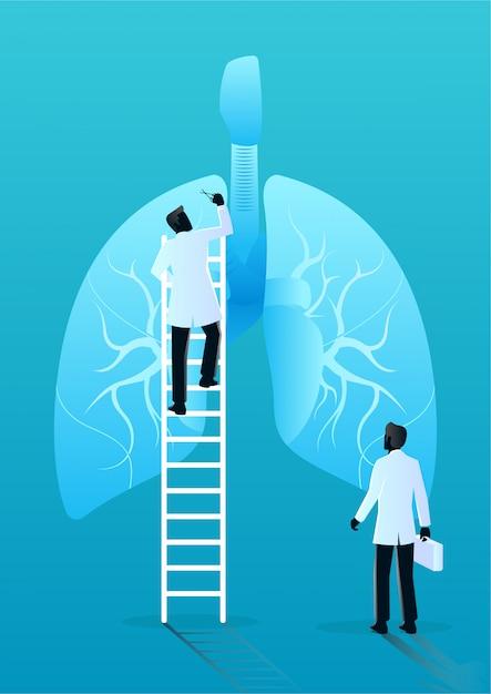 Team van artsen diagnosticeren menselijke longen. medisch en gezondheidszorgconcept Premium Vector