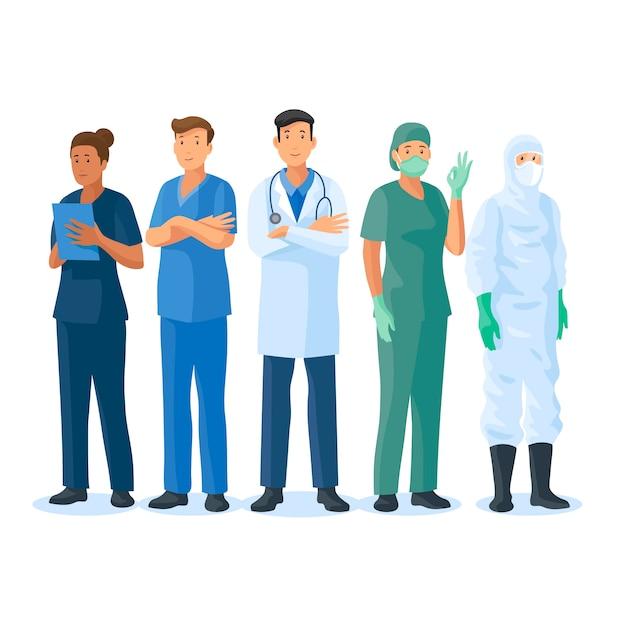 Team van artsen en verpleegkundigen Gratis Vector