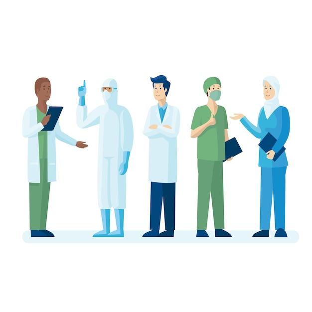 Team van artsen en verpleegsters Gratis Vector