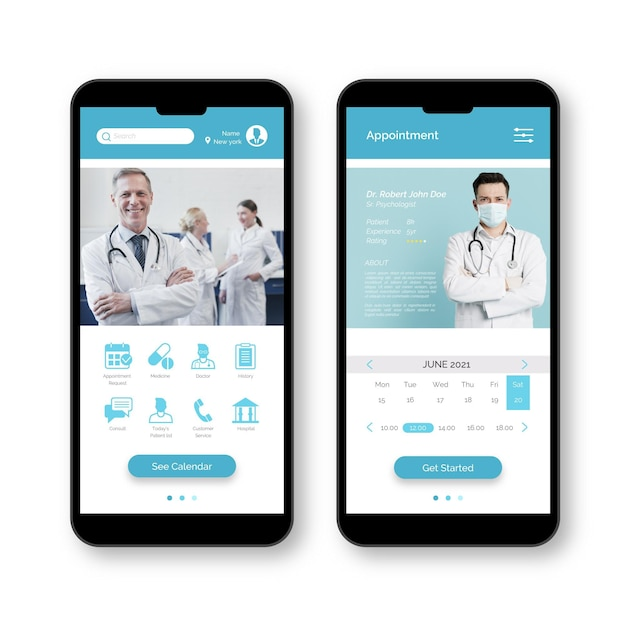 Team van artsen medische boekingsapp Gratis Vector