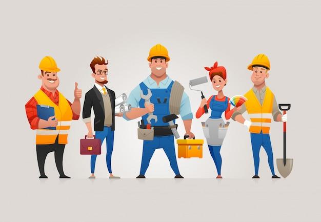 Team van bouwvakkers Premium Vector