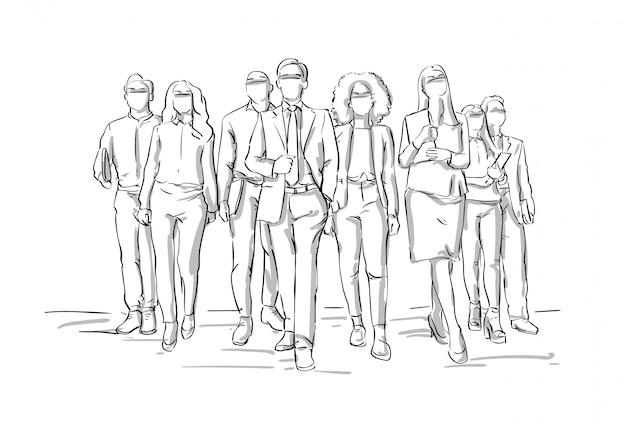 Team van sketch businesspeople walking businessmen leading bsuiness people group leadership concept Premium Vector