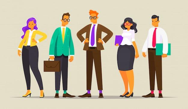 Team van succesvolle bedrijfsmensen, illustratie in vlakke stijl Premium Vector