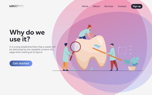 Team van tandartsen die tanden behandelen Gratis Vector