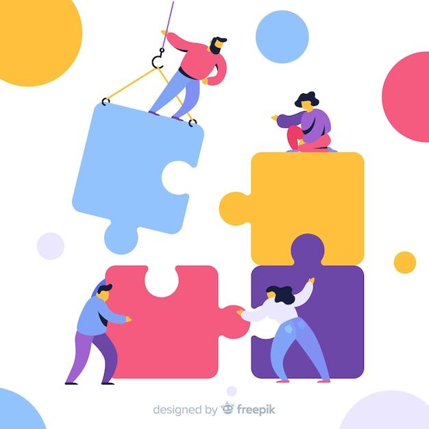 Team verbindende puzzelachtergrond Gratis Vector