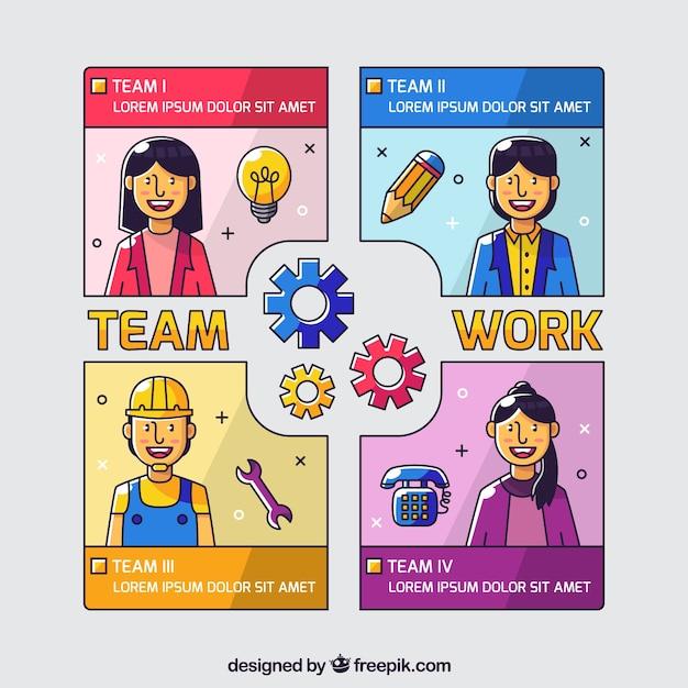 Team werk concept met platte ontwerp Gratis Vector