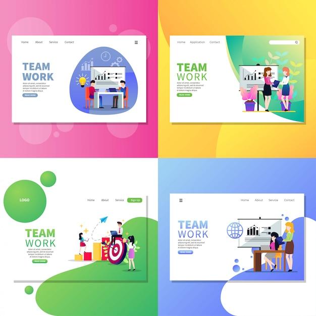 Team work web page Premium Vector