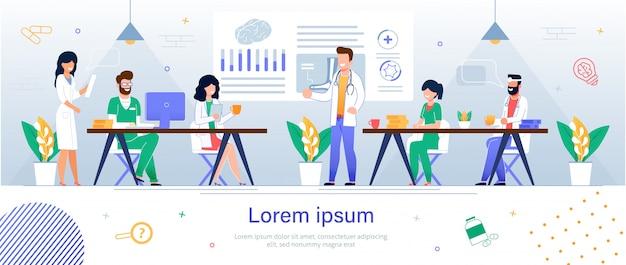Teamartsen en verpleegkundigen. landende webpagina banner Premium Vector