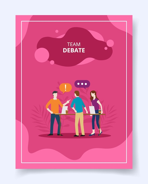 Teamdebat mensen staan dialoog praten spreken Premium Vector