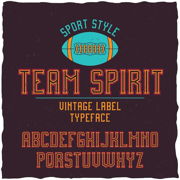 Teamgeest lettertype in de retro-stijl Gratis Vector