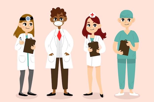 Teampakket voor gezondheidswerkers Gratis Vector