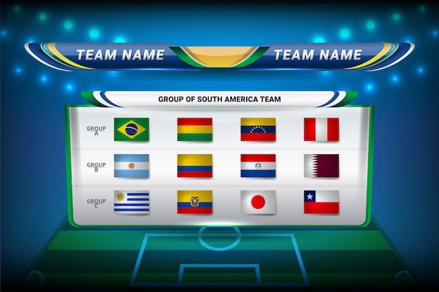 Teams van zuid-amerika voor voetbal Premium Vector