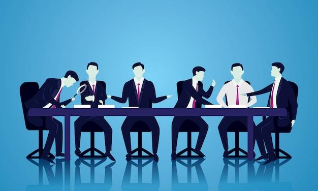 Teamvergaderingsbespreking, het concept van de groepswerkillustratie Premium Vector