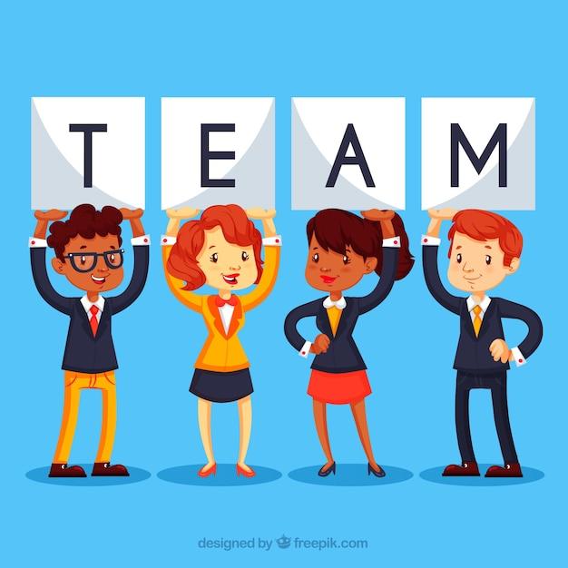 Teamwerk achtergrond in vlakke stijl Gratis Vector
