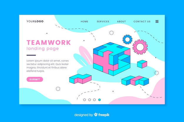 Teamwerk-bestemmingspagina met rubiks kubus Gratis Vector
