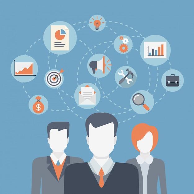 Teamwerk brainstormen succes winnende professionals team, zakelijke medewerkers, bedrijfsafdeling, samenwerking tussen medewerkers, leiderschap concept platte ontwerp illustratie. Gratis Vector