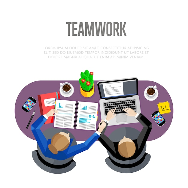 Teamwerk concept. bovenaanzicht werkruimte Premium Vector