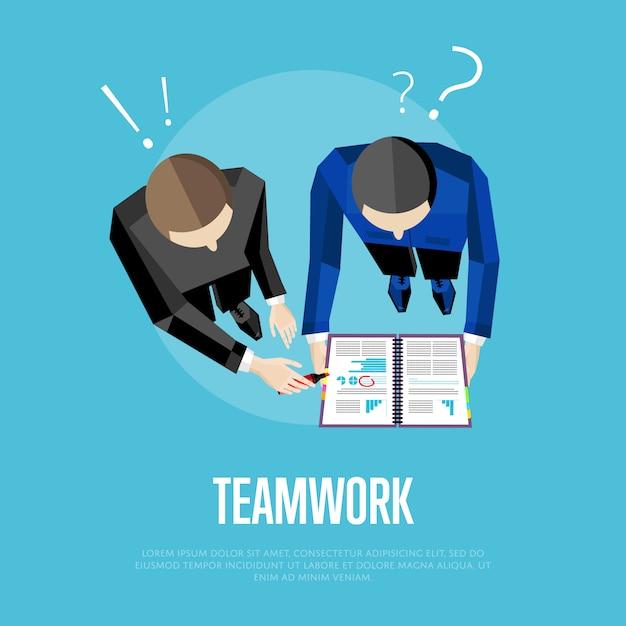 Teamwerk illustratie. bovenaanzicht groep mensen Premium Vector