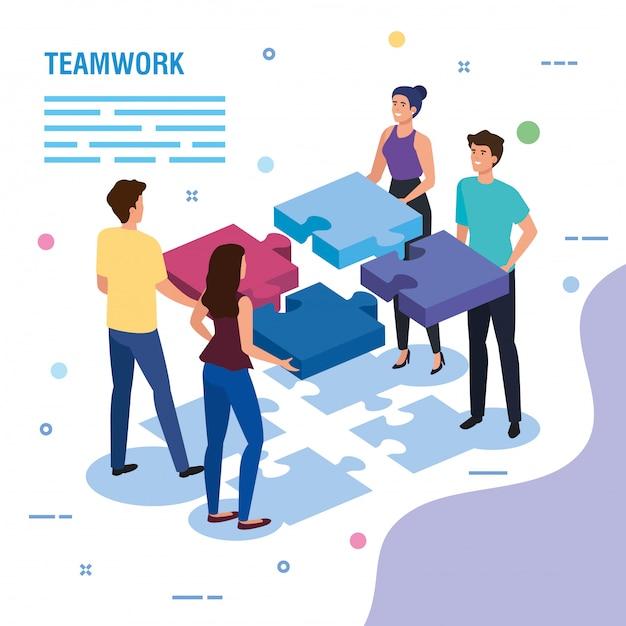 Teamwerk mensen met puzzel stukjes sjabloon Gratis Vector