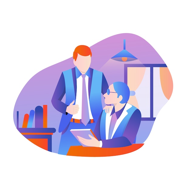 Teamwerk of discussie Premium Vector