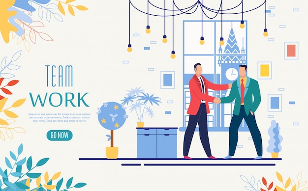 Teamwerk online startup website template Premium Vector