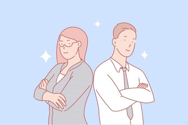 Teamwerk, partnerschap, gendergelijkheid concept Premium Vector