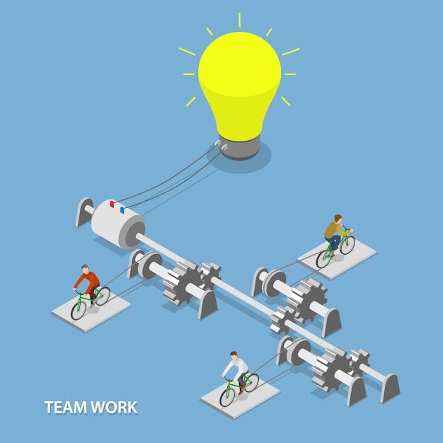 Teamwerk plat isometrisch Premium Vector