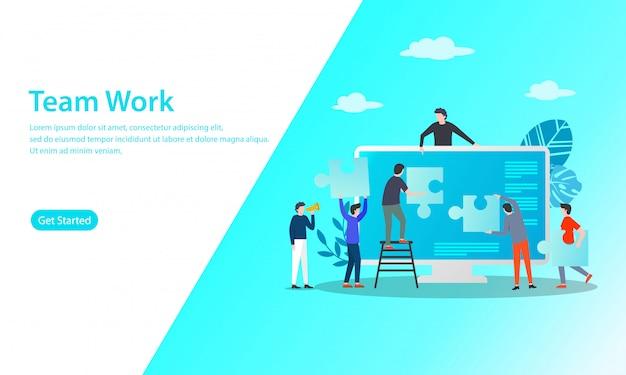 Teamwerk vector illustratie concept Premium Vector