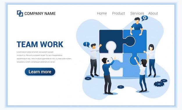 Teamwerk web banner concept. mensen verbinden stuk puzzel. zakelijk leiderschap, partnerschap, teammetafoor. vlakke afbeelding Premium Vector