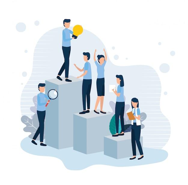 Teamwerk werknemers staan in infographic Premium Vector