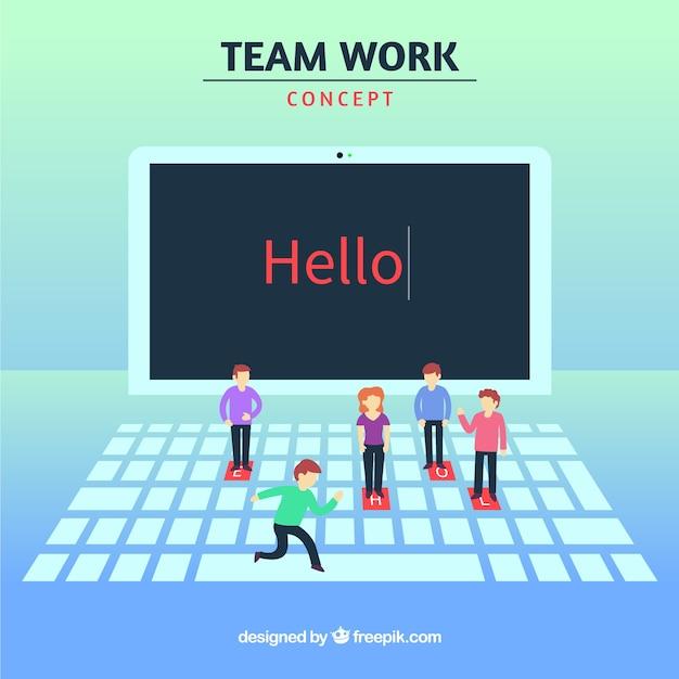 Teamwerkconcept met laptop en karakters Gratis Vector