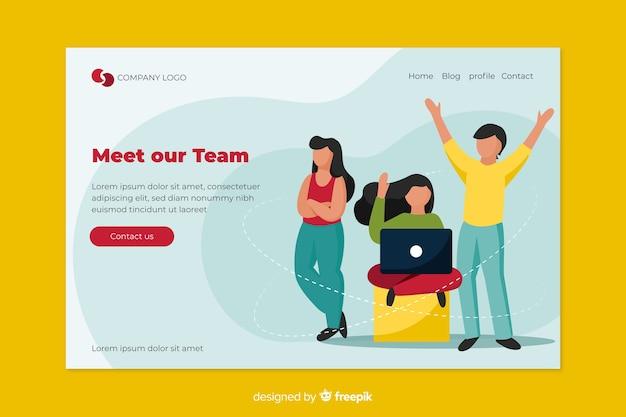 Teamwerkconcept voor bestemmingspagina Gratis Vector