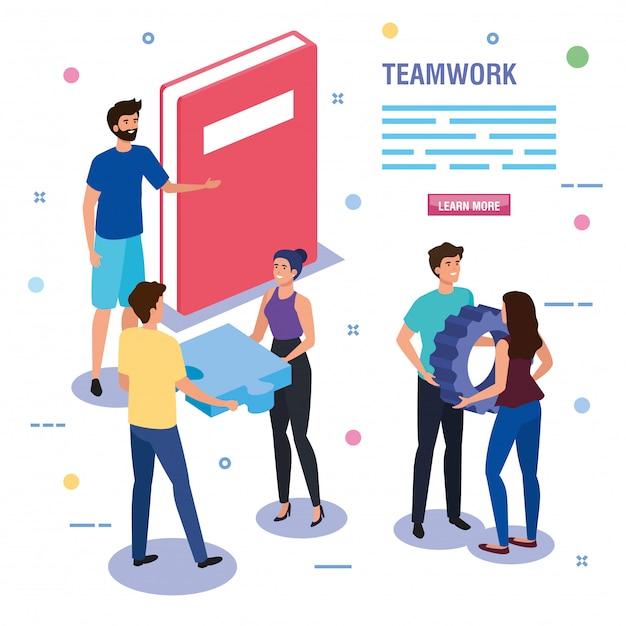 Teamwerkmensen met boek en pictogrammenmalplaatje Gratis Vector