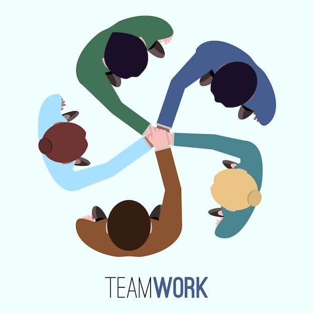 Teamwork achtergrond ontwerp Gratis Vector