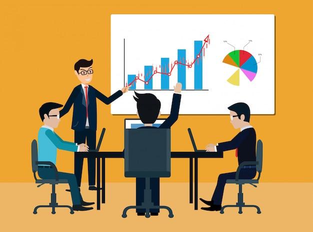 Teamwork bedrijfsvergadering concept. zakenlieden helpen bij het brainstormen over een modern idee Premium Vector