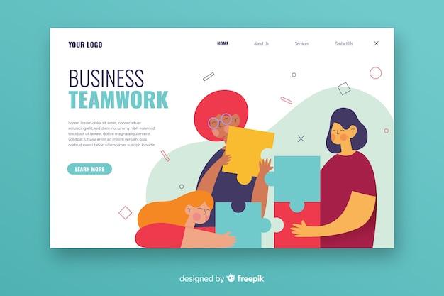 Teamwork-bestemmingspagina met geïllustreerde tekens Gratis Vector