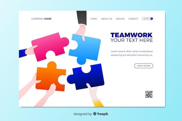 Teamwork bestemmingspagina met puzzel Gratis Vector