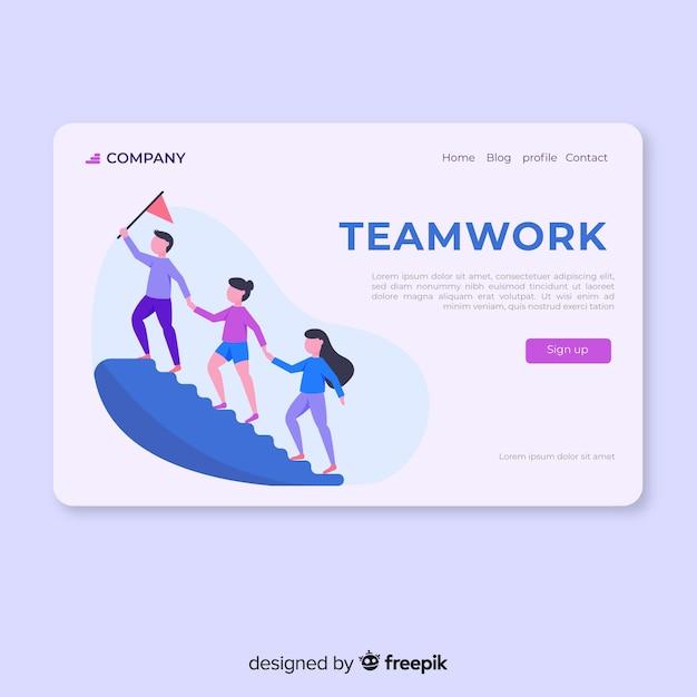 Teamwork-bestemmingspagina Gratis Vector