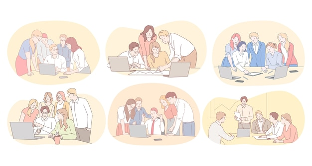 Teamwork, brainstormen, zakelijke samenwerking, samenwerking, succesvol projectconcept. jonge mensen kantoorpersoneel bespreken projecten en werken samen aan startups in zakelijke teams Premium Vector