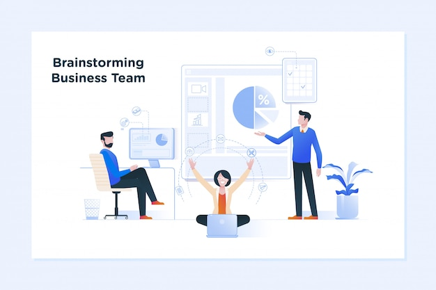 Teamwork concept banner. zakelijke bijeenkomst en brainstormen Premium Vector