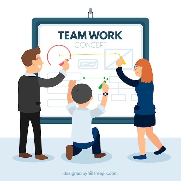 Teamwork concept met bedrijfspresentatie Gratis Vector